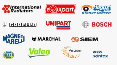 International Radiators, Equipart, Hagus, Carello, Unipart, Bosch, Magneti Marelli, Marchal, Siem, Hella, Valeo, Visteon, Axo scintex